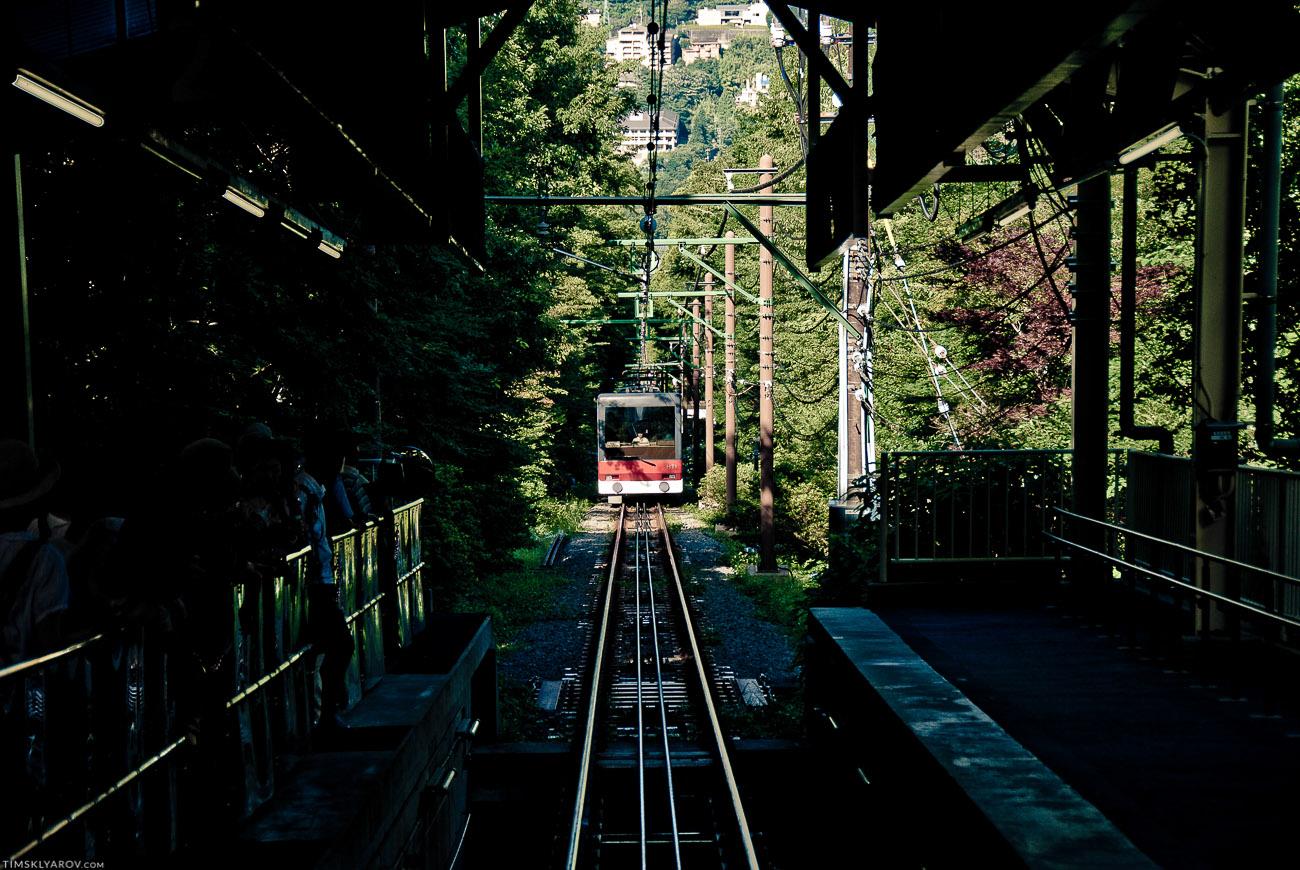 В горах логистика сложная. Канатная дорога с вулкана донесла нас чуть ниже, где мы пересели на фуникулер, что допер нас до поезда, который в свою очередь допоездил над до другого поезда, который оттарабанил нас обратно в Токио.