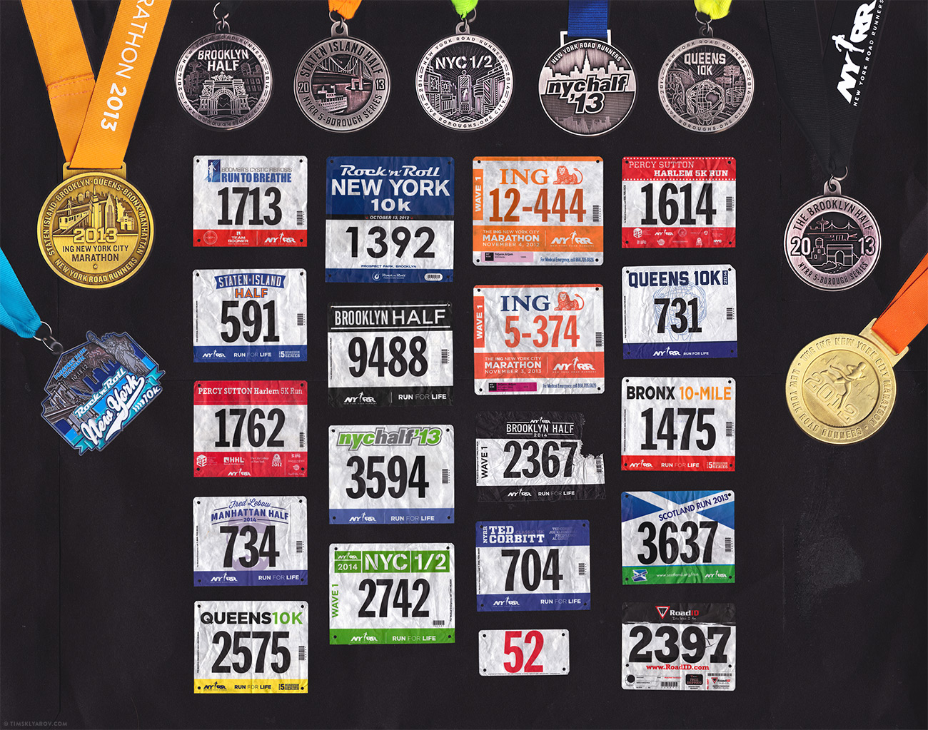 Мои беговые номера и медали